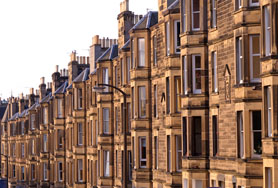 A Row Of Victorian Sandstone Flats In Residential Use In The UK