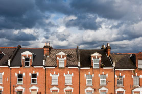 North London Houses Against Cloudy Sky