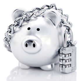 Silver Piggy Bank Secured With Padlock And Chain
