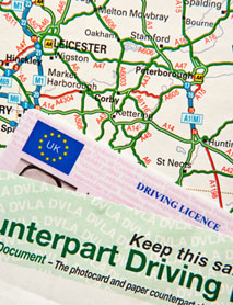 UK Driving Licence On UK Road Map Around London